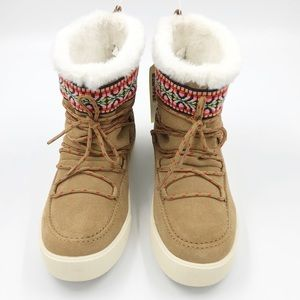 TOMS Suede tribal print faux fur ankle boots{NWOB}